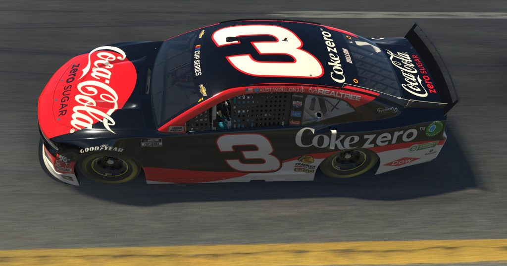 TALLADEGA, ALABAMA - APRIL 26: (EDITORIAL USE ONLY) (Editors note: This image was computer generated in-game) Austin Dillon, driver of the #3 Coke Zero Sugar Chevrolet, races during the eNASCAR iRacing Pro Invitational Series Geico 70 at Talladega Superspeedway on April 26, 2020 in Talladega, Alabama. (Photo by Chris Graythen/Getty Images) | Getty Images