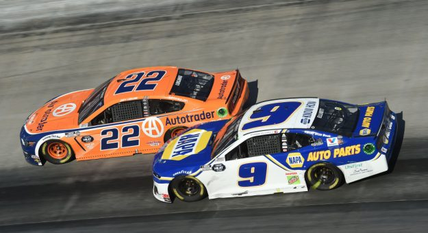 BRISTOL, TENNESSEE - MAY 31: Joey Logano, driver of the #22 Autotrader Ford, races Chase Elliott, driver of the #9 NAPA Auto Parts Chevrolet, during the NASCAR Cup Series Food City presents the Supermarket Heroes 500 at Bristol Motor Speedway on May 31, 2020 in Bristol, Tennessee. (Photo by Jared C. Tilton/Getty Images) | Getty Images