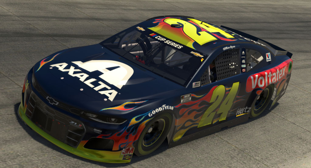 DOVER, DELAWARE - MAY 03: (EDITORIAL USE ONLY) (Editors note: This image was computer generated in-game) William Byron, driver of the #24 Axalta Voltatex Chevrolet, races during the eNASCAR iRacing Pro Invitational Series Finish Line 150 at virtual Dover International Speedway on May 03, 2020 in Dover, Delaware. (Photo by Chris Graythen/Getty Images) | Getty Images