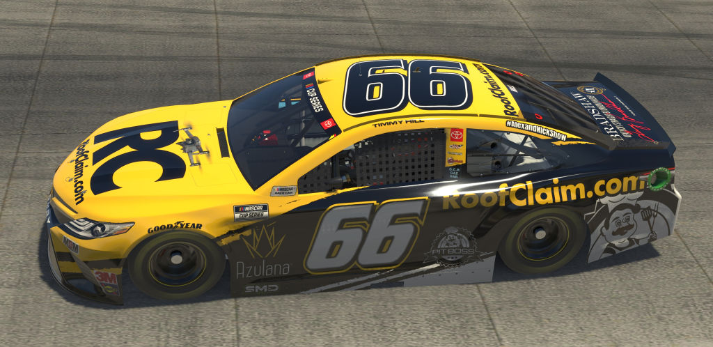 DOVER, DELAWARE - MAY 03: (EDITORIAL USE ONLY) (Editors note: This image was computer generated in-game) Timmy Hill, driver of the #66 RoofClaim.com Totota, races during the eNASCAR iRacing Pro Invitational Series Finish Line 150 at virtual Dover International Speedway on May 03, 2020 in Dover, Delaware. (Photo by Chris Graythen/Getty Images) | Getty Images