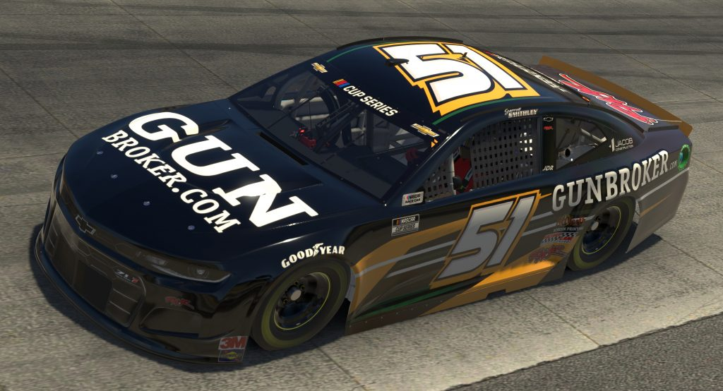 DOVER, DELAWARE - MAY 03: (EDITORIAL USE ONLY) (Editors note: This image was computer generated in-game) Garrett Smithley, driver of the #51 GunBroker.com Chevrolet, races during the eNASCAR iRacing Pro Invitational Series Finish Line 150 at virtual Dover International Speedway on May 03, 2020 in Dover, Delaware. (Photo by Chris Graythen/Getty Images) | Getty Images