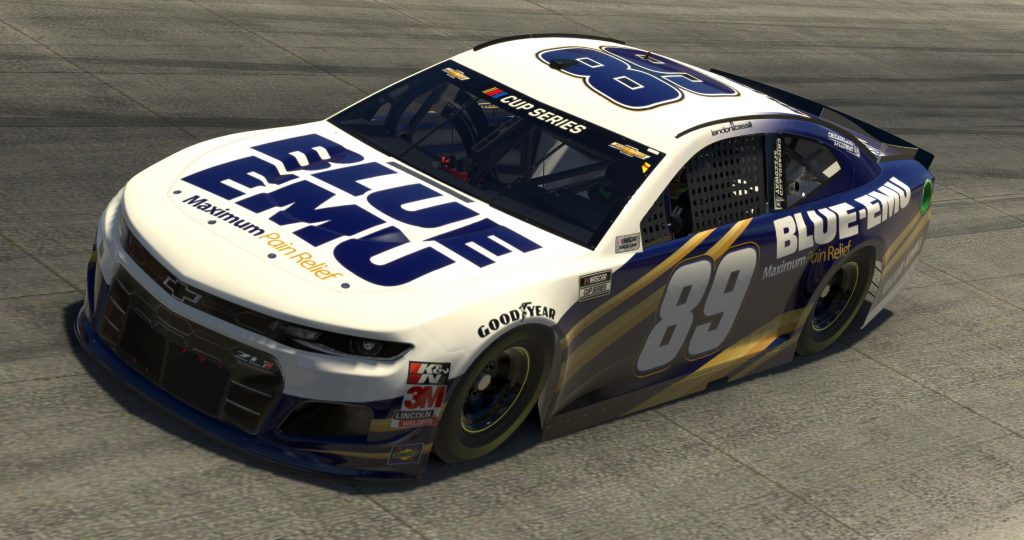 DOVER, DELAWARE - MAY 03: (EDITORIAL USE ONLY) (Editors note: This image was computer generated in-game) Landon Cassill, driver of the #89 Blue Emu Chevrolet, races during the eNASCAR iRacing Pro Invitational Series Finish Line 150 at virtual Dover International Speedway on May 03, 2020 in Dover, Delaware. (Photo by Chris Graythen/Getty Images) | Getty Images