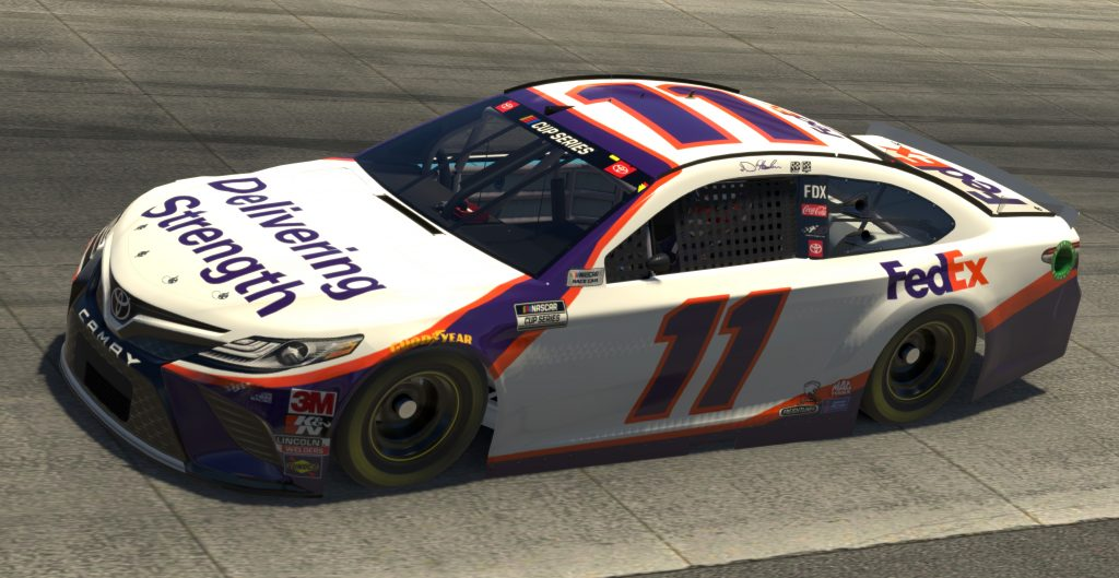 DOVER, DELAWARE - MAY 03: (EDITORIAL USE ONLY) (Editors note: This image was computer generated in-game) Denny Hamlin, driver of the #11 FedEx Delivering Strength Toyota, races during the eNASCAR iRacing Pro Invitational Series Finish Line 150 at virtual Dover International Speedway on May 03, 2020 in Dover, Delaware. (Photo by Chris Graythen/Getty Images) | Getty Images