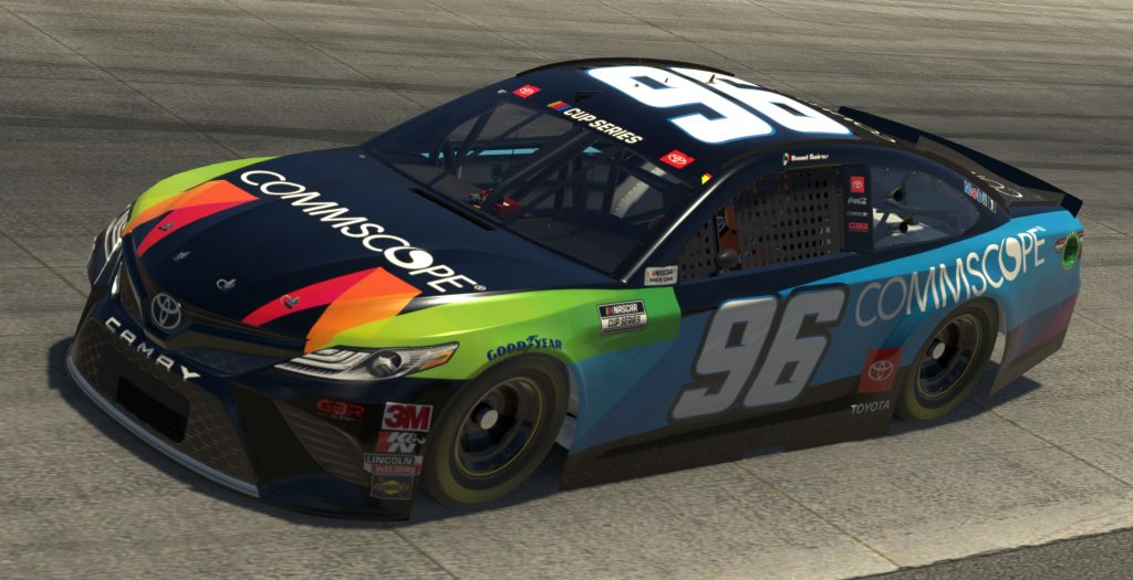 DOVER, DELAWARE - MAY 03: (EDITORIAL USE ONLY) (Editors note: This image was computer generated in-game) Daniel Suarez, driver of the #96 Commscope Toyota, races during the eNASCAR iRacing Pro Invitational Series Finish Line 150 at virtual Dover International Speedway on May 03, 2020 in Dover, Delaware. (Photo by Chris Graythen/Getty Images) | Getty Images
