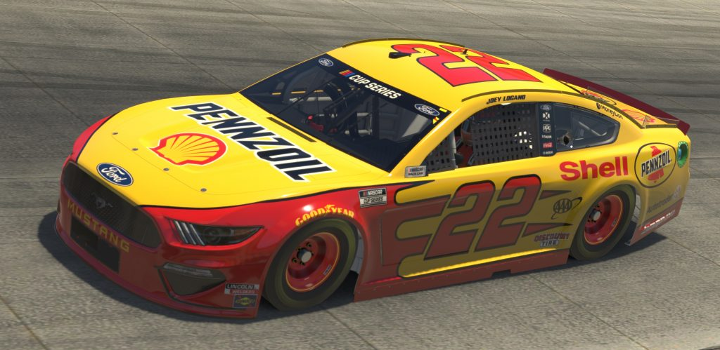 DOVER, DELAWARE - MAY 03: (EDITORIAL USE ONLY) (Editors note: This image was computer generated in-game) Joey Logano, driver of the #22 Shell/Pennzoil Ford,races during the eNASCAR iRacing Pro Invitational Series Finish Line 150 at virtual Dover International Speedway on May 03, 2020 in Dover, Delaware. (Photo by Chris Graythen/Getty Images) | Getty Images