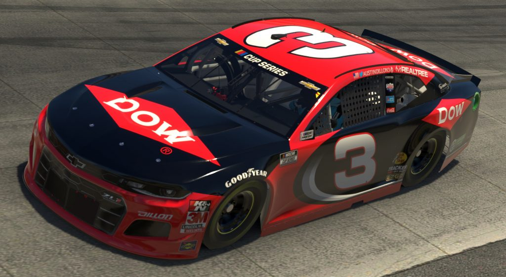 DOVER, DELAWARE - MAY 03: (EDITORIAL USE ONLY) (Editors note: This image was computer generated in-game) Austin Dillon, driver of the #3 DOW Chevrolet, races during the eNASCAR iRacing Pro Invitational Series Finish Line 150 at virtual Dover International Speedway on May 03, 2020 in Dover, Delaware. (Photo by Chris Graythen/Getty Images) | Getty Images