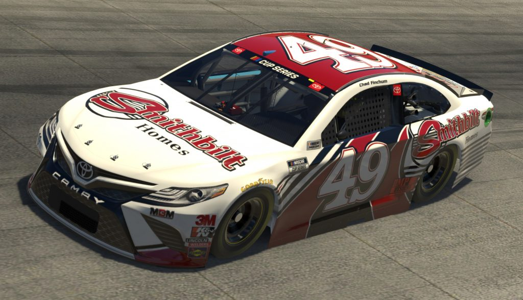 DOVER, DELAWARE - MAY 03: (EDITORIAL USE ONLY) (Editors note: This image was computer generated in-game) Chad Finchum, driver of the #49 Smithbilt Homes Toyota, during the eNASCAR iRacing Pro Invitational Series Finish Line 150 at virtual Dover International Speedway on May 03, 2020 in Dover, Delaware. (Photo by Chris Graythen/Getty Images) | Getty Images