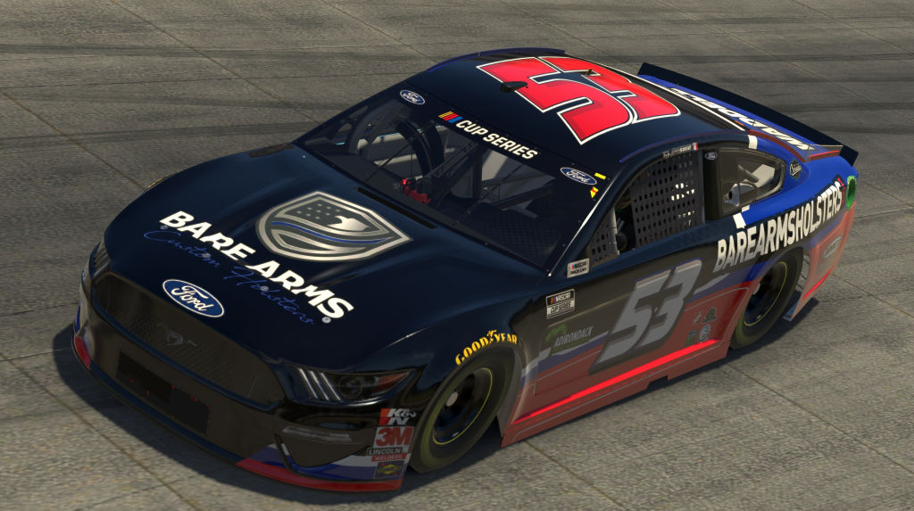 DOVER, DELAWARE - MAY 03: (EDITORIAL USE ONLY) (Editors note: This image was computer generated in-game) Joey Gase, driver of the #53 Bare Arms Holsters Chevrolet, races during the eNASCAR iRacing Pro Invitational Series Finish Line 150 at virtual Dover International Speedway on May 03, 2020 in Dover, Delaware. (Photo by Chris Graythen/Getty Images) | Getty Images
