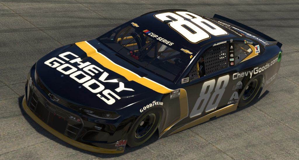 DOVER, DELAWARE - MAY 03: (EDITORIAL USE ONLY) (Editors note: This image was computer generated in-game) Alex Bowman, driver of the #88 Chevy Goods Chevrolet, races during the eNASCAR iRacing Pro Invitational Series Finish Line 150 at virtual Dover International Speedway on May 03, 2020 in Dover, Delaware. (Photo by Chris Graythen/Getty Images) | Getty Images