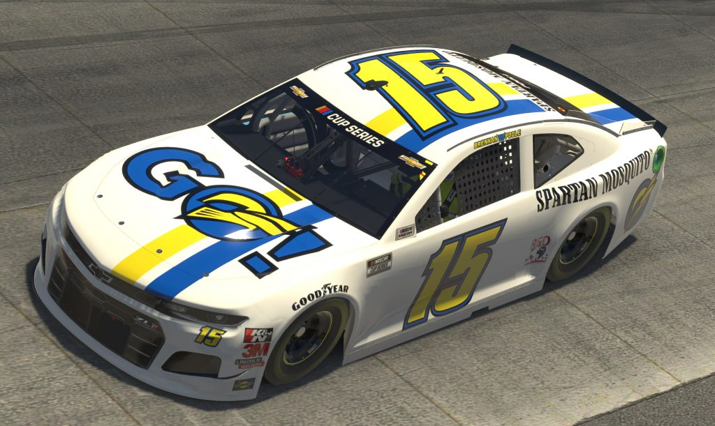 DOVER, DELAWARE - MAY 03: (EDITORIAL USE ONLY) (Editors note: This image was computer generated in-game) Brennan Poole, driver of the #15 Spartan Mosquito Chevrolet, races during the eNASCAR iRacing Pro Invitational Series Finish Line 150 at virtual Dover International Speedway on May 03, 2020 in Dover, Delaware. (Photo by Chris Graythen/Getty Images) | Getty Images