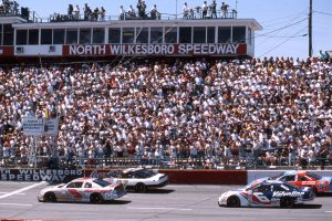 NORTH WILKESBORO, NC – APRIL 14, 1996: Terry Labonte (No 5) and Elton Sawyer (No 27) bring the field to the start of the First Union 400 at North Wilkesboro Speedway. Mark Martin is in No. 6 and the No. 43 is Bobby Hamilton. (Photo by ISC Images & Archives via Getty Images)