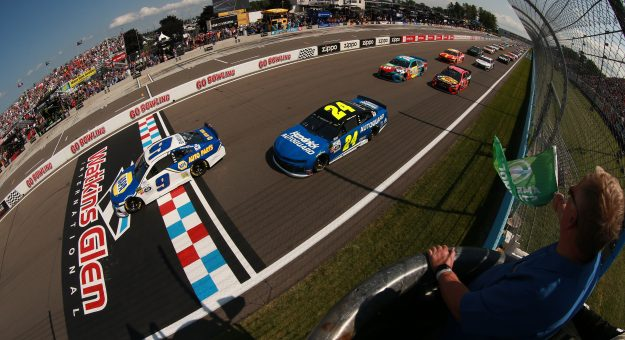 WATKINS GLEN, NEW YORK - AUGUST 04: Chase Elliott, driver of the #9 NAPA AUTO PARTS Chevrolet, takes the green flag to start the Monster Energy NASCAR Cup Series Go Bowling at The Glen at Watkins Glen International on August 04, 2019 in Watkins Glen, New York. (Photo by Sean Gardner/Getty Images) | Getty Images