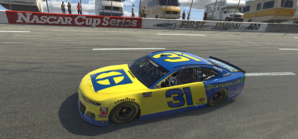 NORTH WILKESBORO, NORTH CAROLINA - MAY 09: (EDITORIAL USE ONLY) (Editors note: This image was computer generated in-game)  Tyler Reddick, driver of the #31 Caterpillar Chevrolet, during the eNASCAR iRacing Pro Invitational Series North Wilkesboro 160 at virtual North Wilkesboro Speedway on May 09, 2020 in North Wilkesboro, North Carolina. (Photo by Chris Graythen/Getty Images) | Getty Images