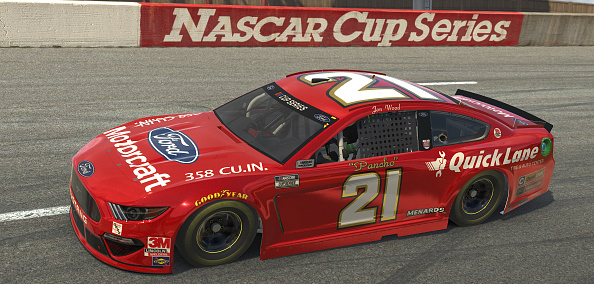 NORTH WILKESBORO, NORTH CAROLINA - MAY 09: (EDITORIAL USE ONLY) (Editors note: This image was computer generated in-game)  Jon Wood, driver of the #21 Motorcraft Ford, races during the eNASCAR iRacing Pro Invitational Series North Wilkesboro 160 at virtual North Wilkesboro Speedway on May 09, 2020 in North Wilkesboro, North Carolina. (Photo by Chris Graythen/Getty Images) | Getty Images