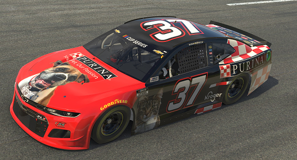 NORTH WILKESBORO, NORTH CAROLINA - MAY 09: (EDITORIAL USE ONLY) (Editors note: This image was computer generated in-game) Ryan Preece, driver of the #37 Purina Chevrolet, races during the eNASCAR iRacing Pro Invitational Series North Wilkesboro 160 at virtual North Wilkesboro Speedway on May 09, 2020 in North Wilkesboro, North Carolina. (Photo by Chris Graythen/Getty Images) | Getty Images