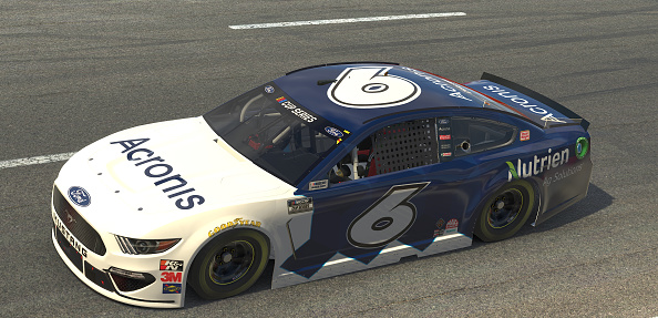 NORTH WILKESBORO, NORTH CAROLINA - MAY 09: (EDITORIAL USE ONLY) (Editors note: This image was computer generated in-game) Ross Chastain, driver of the #6 Acronis Ford, races during the eNASCAR iRacing Pro Invitational Series North Wilkesboro 160 at virtual North Wilkesboro Speedway on May 09, 2020 in North Wilkesboro, North Carolina. (Photo by Chris Graythen/Getty Images) | Getty Images