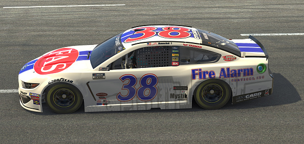 NORTH WILKESBORO, NORTH CAROLINA - MAY 09: (EDITORIAL USE ONLY) (Editors note: This image was computer generated in-game)  John Hunter Nemechek, driver of the #38 Fire Alarm Services Ford, races during the eNASCAR iRacing Pro Invitational Series North Wilkesboro 160 at virtual North Wilkesboro Speedway on May 09, 2020 in North Wilkesboro, North Carolina. (Photo by Chris Graythen/Getty Images) | Getty Images