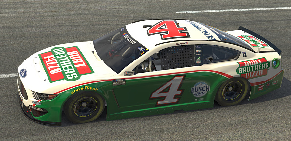 NORTH WILKESBORO, NORTH CAROLINA - MAY 09: (EDITORIAL USE ONLY) (Editors note: This image was computer generated in-game) Kevin Harvick, driver of the #4 Hunt Brotherss Pizza Ford, races during the eNASCAR iRacing Pro Invitational Series North Wilkesboro 160 at virtual North Wilkesboro Speedway on May 09, 2020 in North Wilkesboro, North Carolina. (Photo by Chris Graythen/Getty Images) | Getty Images