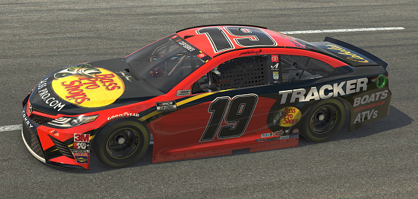 NORTH WILKESBORO, NORTH CAROLINA - MAY 09: (EDITORIAL USE ONLY) (Editors note: This image was computer generated in-game) Martin Truex Jr., driver of the #19 Bass Pro Shops Toyota, races during the eNASCAR iRacing Pro Invitational Series North Wilkesboro 160 at virtual North Wilkesboro Speedway on May 09, 2020 in North Wilkesboro, North Carolina. (Photo by Chris Graythen/Getty Images) | Getty Images