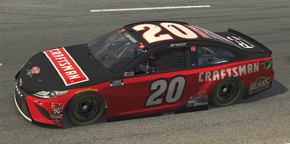 NORTH WILKESBORO, NORTH CAROLINA - MAY 09: (EDITORIAL USE ONLY) (Editors note: This image was computer generated in-game) Erik Jones, driver of the #20 Craftsman Toyota, races during the eNASCAR iRacing Pro Invitational Series North Wilkesboro 160 at virtual North Wilkesboro Speedway on May 09, 2020 in North Wilkesboro, North Carolina. (Photo by Chris Graythen/Getty Images) | Getty Images
