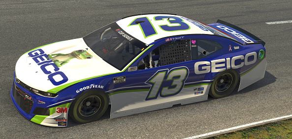 NORTH WILKESBORO, NORTH CAROLINA - MAY 09: (EDITORIAL USE ONLY) (Editors note: This image was computer generated in-game)  Ty Dillon, driver of the #13 Geico Chevrolet, races during the eNASCAR iRacing Pro Invitational Series North Wilkesboro 160 at virtual North Wilkesboro Speedway on May 09, 2020 in North Wilkesboro, North Carolina. (Photo by Chris Graythen/Getty Images) | Getty Images