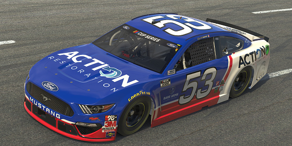 NORTH WILKESBORO, NORTH CAROLINA - MAY 09: (EDITORIAL USE ONLY) (Editors note: This image was computer generated in-game)  Joey Gase, driver of the #53 Action Restoration Chevrolet, races during the eNASCAR iRacing Pro Invitational Series North Wilkesboro 160 at virtual North Wilkesboro Speedway on May 09, 2020 in North Wilkesboro, North Carolina. (Photo by Chris Graythen/Getty Images) | Getty Images