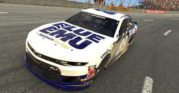 NORTH WILKESBORO, NORTH CAROLINA - MAY 09: (EDITORIAL USE ONLY) (Editors note: This image was computer generated in-game)  Landon Cassill, driver of the #89 Blue Emu Chevrolet,   races during the eNASCAR iRacing Pro Invitational Series North Wilkesboro 160 at virtual North Wilkesboro Speedway on May 09, 2020 in North Wilkesboro, North Carolina. (Photo by Chris Graythen/Getty Images) | Getty Images