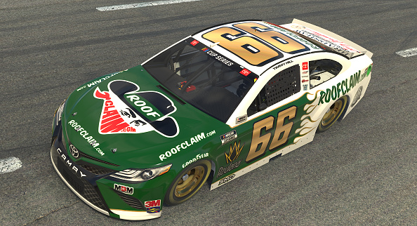NORTH WILKESBORO, NORTH CAROLINA - MAY 09: (EDITORIAL USE ONLY) (Editors note: This image was computer generated in-game) Timmy Hill, driver of the #66 RoofClaim.com Totota,  races during the eNASCAR iRacing Pro Invitational Series North Wilkesboro 160 at virtual North Wilkesboro Speedway on May 09, 2020 in North Wilkesboro, North Carolina. (Photo by Chris Graythen/Getty Images) | Getty Images