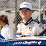 1998:  Dale Earnhardt, Jr. readies himself for another race in the 1998 NASCAR Busch Series. Junior's success in winning the1998 Busch Series points championship moved him into a part-time NASCAR Nextel Cup ride with Dale Earnhardt, Inc. for 1999 and then a full-season schedule in 2000.  (Photo by ISC Archives/CQ-Roll Call Group via Getty Images)