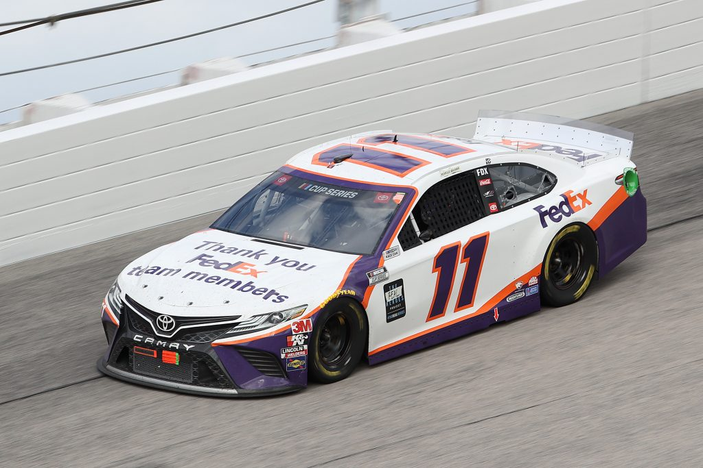 DARLINGTON, SOUTH CAROLINA - MAY 17: Denny Hamlin, driver of the #11 FedEx Thank You Toyota, drives 400 at Darlington Raceway on May 17, 2020 in Darlington, South Carolina. NASCAR resumes the season after the nationwide lockdown due to the ongoing coronavirus (COVID-19). (Photo by Chris Graythen/Getty Images) | Getty Images