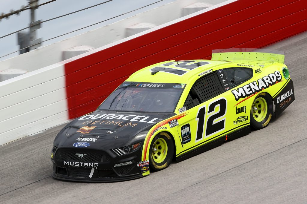DARLINGTON, SOUTH CAROLINA - MAY 17: Ryan Blaney, driver of the #12 Menards/Duracell Ford, drives during the NASCAR Cup Series The Real Heroes 400 at Darlington Raceway on May 17, 2020 in Darlington, South Carolina. NASCAR resumes the season after the nationwide lockdown due to the ongoing coronavirus (COVID-19). (Photo by Chris Graythen/Getty Images) | Getty Images
