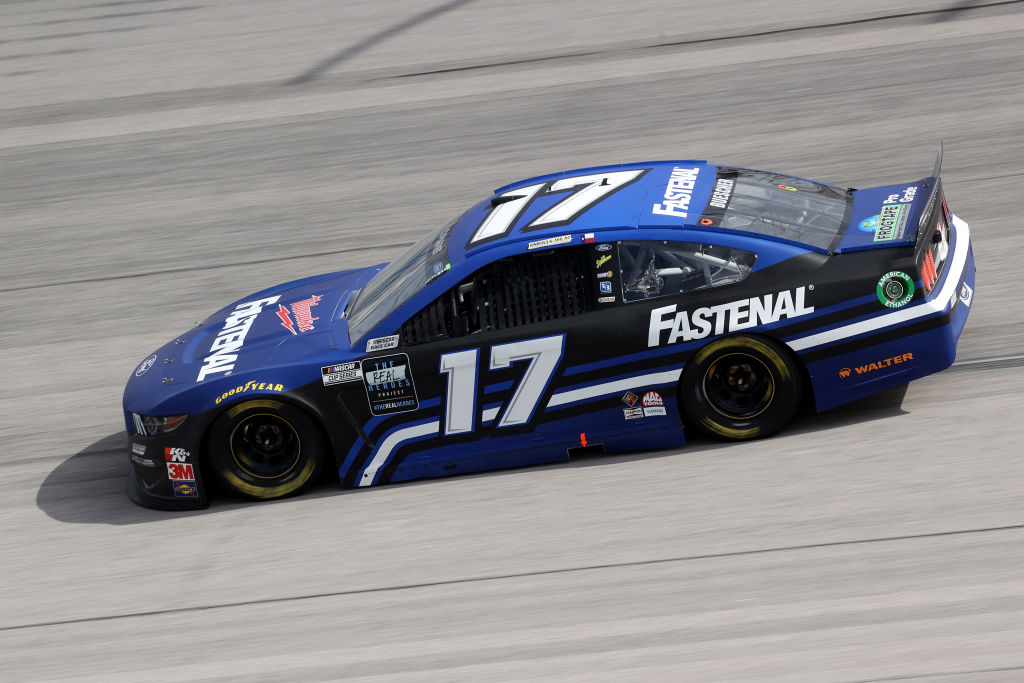 DARLINGTON, SOUTH CAROLINA - MAY 17: Chris Buescher, driver of the #17 Fastenal Ford, drives during the NASCAR Cup Series The Real Heroes 400 at Darlington Raceway on May 17, 2020 in Darlington, South Carolina. NASCAR resumes the season after the nationwide lockdown due to the ongoing coronavirus (COVID-19). (Photo by Chris Graythen/Getty Images) | Getty Images
