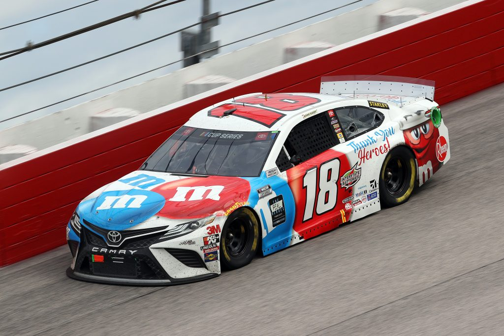 DARLINGTON, SOUTH CAROLINA - MAY 17: Kyle Busch, driver of the #18 M&M's Toyota, drives during the NASCAR Cup Series The Real Heroes 400 at Darlington Raceway on May 17, 2020 in Darlington, South Carolina. NASCAR resumes the season after the nationwide lockdown due to the ongoing coronavirus (COVID-19). (Photo by Chris Graythen/Getty Images) | Getty Images