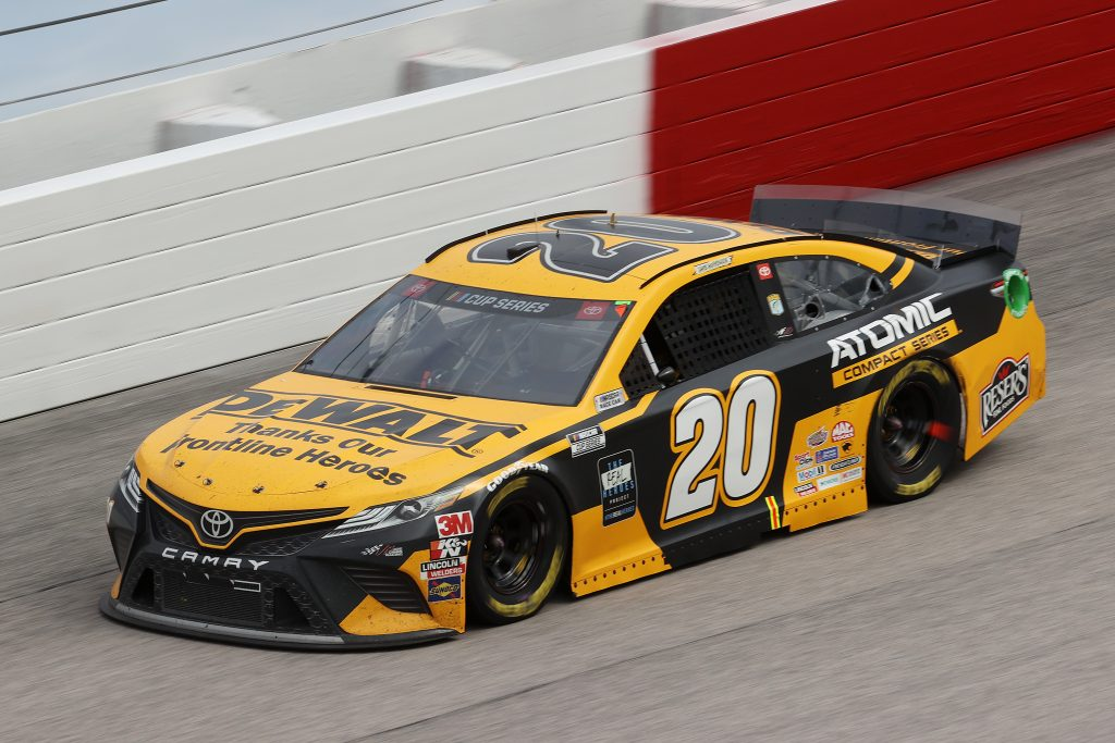 DARLINGTON, SOUTH CAROLINA - MAY 17: Erik Jones, driver of the #20 DeWalt Atomic Thank You Toyota, drives during the NASCAR Cup Series The Real Heroes 400 at Darlington Raceway on May 17, 2020 in Darlington, South Carolina. NASCAR resumes the season after the nationwide lockdown due to the ongoing coronavirus (COVID-19). (Photo by Chris Graythen/Getty Images) | Getty Images