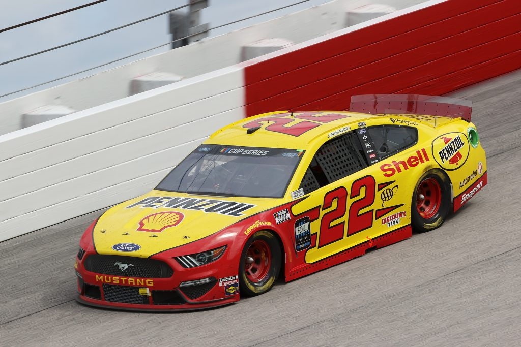 DARLINGTON, SOUTH CAROLINA - MAY 17: Joey Logano, driver of the #22 Shell Pennzoil Ford, drives during the NASCAR Cup Series The Real Heroes 400 at Darlington Raceway on May 17, 2020 in Darlington, South Carolina. NASCAR resumes the season after the nationwide lockdown due to the ongoing coronavirus (COVID-19). (Photo by Chris Graythen/Getty Images) | Getty Images