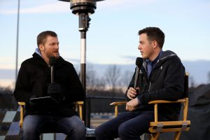 MOORESVILLE, NC – DECEMBER 06: (L-R) Dale Earnhardt Jr. and Alex Bowman interact with fans and media during the Nationwide 2019 Paint Scheme Reveal at GoPro Motorplex on December 6, 2018 in Mooresville, North Carolina. (Photo by Streeter Lecka/Getty Images) | Getty Images