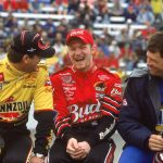 23 Feb 2001:  Steve Park,Dale Earnhardt Jr and  Michael Waltrip sit and laugh during the Dura Lube 400, part of the Winston Cup Series at the North Carolina Speedway in Rockingham, North Carolina.Mandatory Credit: Donald Miralle  /Allsport