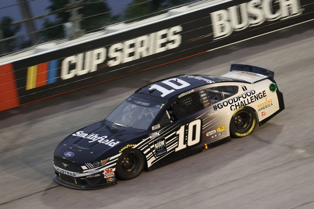 DARLINGTON, SOUTH CAROLINA - MAY 20: Aric Almirola, driver of the #10 Smithfield Ford, drives during the NASCAR Cup Series Toyota 500 at Darlington Raceway on May 20, 2020 in Darlington, South Carolina. (Photo by Chris Graythen/Getty Images) | Getty Images