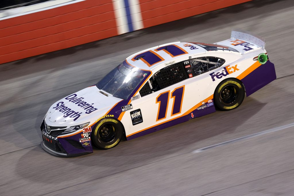 DARLINGTON, SOUTH CAROLINA - MAY 20: Denny Hamlin, driver of the #11 FedEx Delivering Strength Toyota, drives during the NASCAR Cup Series Toyota 500 at Darlington Raceway on May 20, 2020 in Darlington, South Carolina. (Photo by Chris Graythen/Getty Images) | Getty Images