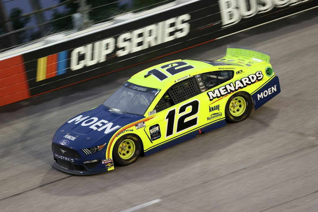 DARLINGTON, SOUTH CAROLINA - MAY 20: Ryan Blaney, driver of the #12 Menards/Moen Ford, drives during the NASCAR Cup Series Toyota 500 at Darlington Raceway on May 20, 2020 in Darlington, South Carolina. (Photo by Chris Graythen/Getty Images) | Getty Images