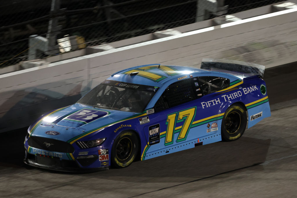 DARLINGTON, SOUTH CAROLINA - MAY 20: Chris Buescher, driver of the #17 Fifth Third Bank Ford, races during the NASCAR Cup Series Toyota 500 at Darlington Raceway on May 20, 2020 in Darlington, South Carolina. (Photo by Chris Graythen/Getty Images) | Getty Images