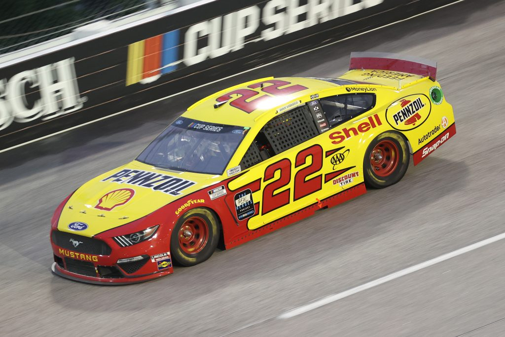 DARLINGTON, SOUTH CAROLINA - MAY 20: Joey Logano, driver of the #22 Shell Pennzoil Ford, drives during the NASCAR Cup Series Toyota 500 at Darlington Raceway on May 20, 2020 in Darlington, South Carolina. (Photo by Chris Graythen/Getty Images) | Getty Images