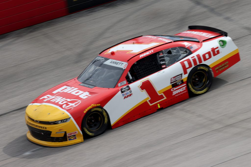 DARLINGTON, SOUTH CAROLINA - MAY 21: Michael Annett, driver of the #1 Pilot Flying J Chevrolet, drives during the NASCAR Xfinity Series Toyota 200 at Darlington Raceway on May 21, 2020 in Darlington, South Carolina. (Photo by Chris Graythen/Getty Images) | Getty Images