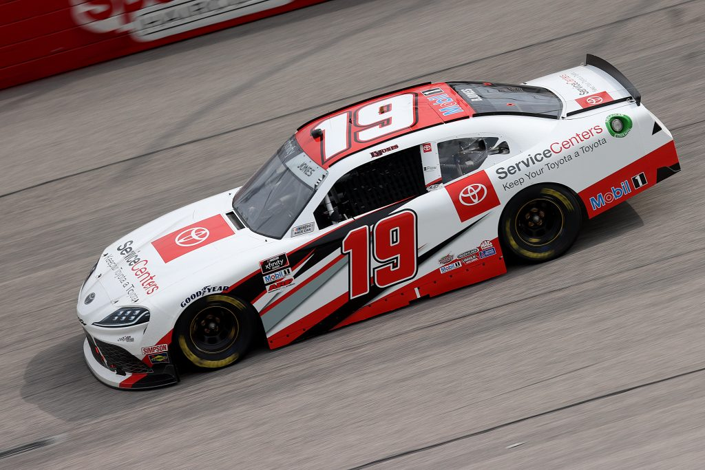 DARLINGTON, SOUTH CAROLINA - MAY 21: Brandon Jones, driver of the #19 Toyota Service Centers Toyota, drives during the NASCAR Xfinity Series Toyota 200 at Darlington Raceway on May 21, 2020 in Darlington, South Carolina. (Photo by Chris Graythen/Getty Images) | Getty Images