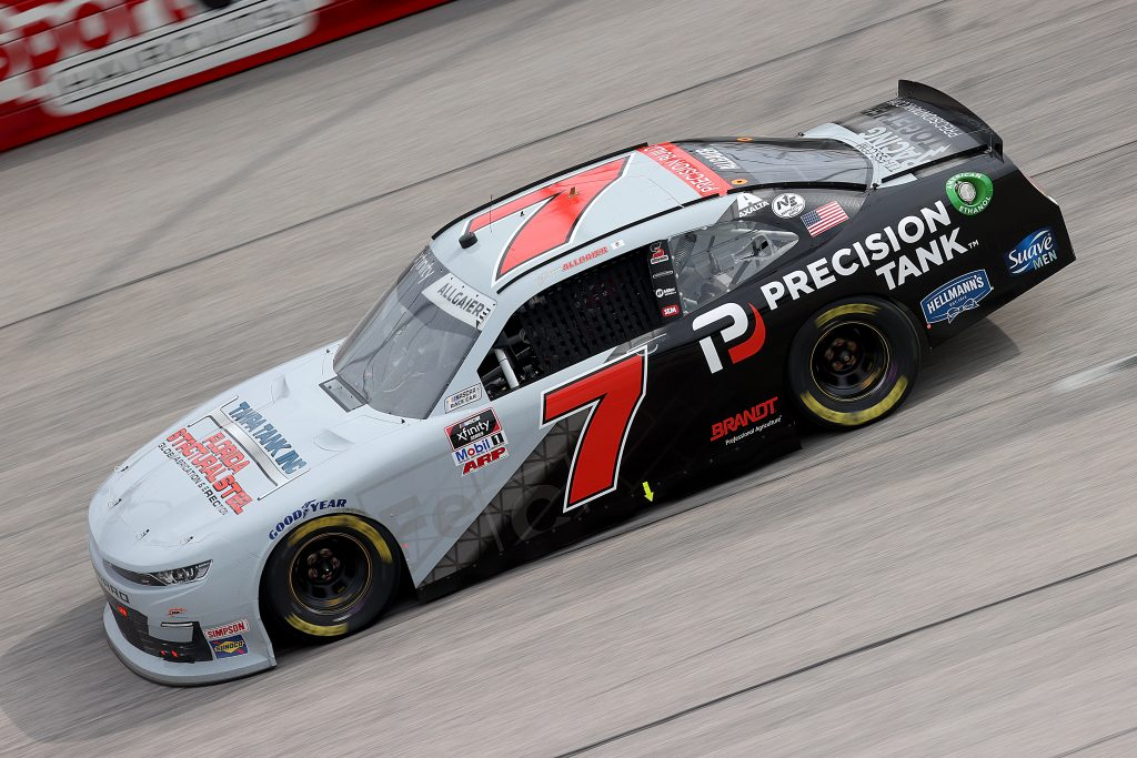 DARLINGTON, SOUTH CAROLINA - MAY 21: Justin Allgaier, driver of the #7 Precision Build Chevrolet, drives during the NASCAR Xfinity Series Toyota 200 at Darlington Raceway on May 21, 2020 in Darlington, South Carolina. (Photo by Chris Graythen/Getty Images) | Getty Images