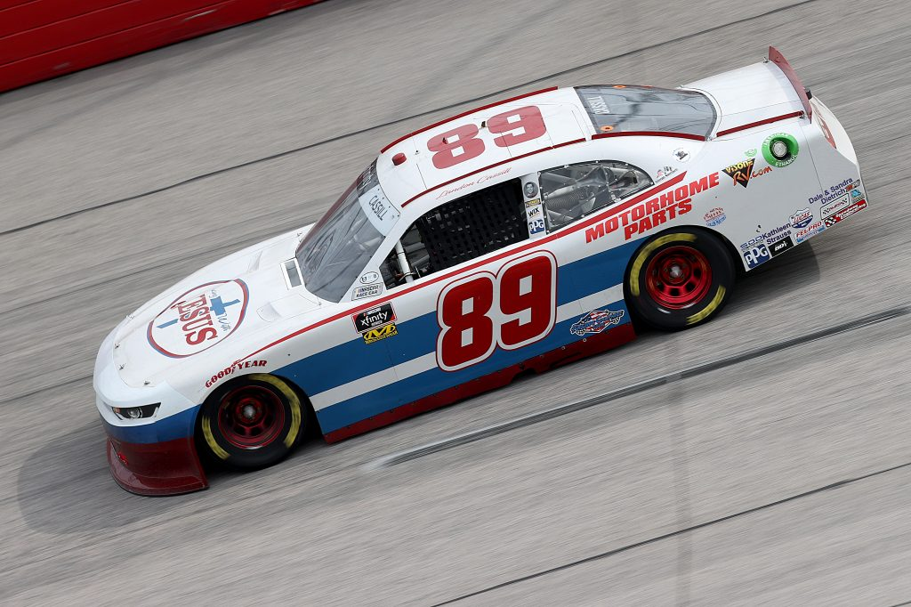 DARLINGTON, SOUTH CAROLINA - MAY 21: Landon Cassill, driver of the #89 Visone RV Chevrolet, drives during the NASCAR Xfinity Series Toyota 200 at Darlington Raceway on May 21, 2020 in Darlington, South Carolina. (Photo by Chris Graythen/Getty Images)   Getty Images