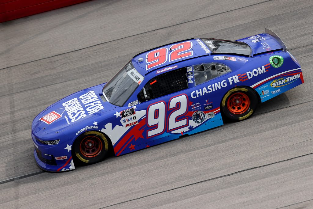 DARLINGTON, SOUTH CAROLINA - MAY 21: Josh Williams, driver of the #92 OpenForBusiness/ChasingFreedom, drives during the NASCAR Xfinity Series Toyota 200 at Darlington Raceway on May 21, 2020 in Darlington, South Carolina. (Photo by Chris Graythen/Getty Images)   Getty Images