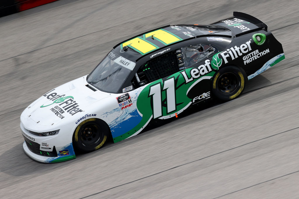 DARLINGTON, SOUTH CAROLINA - MAY 21: Justin Haley, driver of the #11 LeafFilter Gutter Protection Chevrolet, drives during the NASCAR Xfinity Series Toyota 200 at Darlington Raceway on May 21, 2020 in Darlington, South Carolina. (Photo by Chris Graythen/Getty Images) | Getty Images