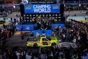 HOMESTEAD, FL – NOVEMBER 14: Matt Crafton, driver of the #88 Jeld-Wen/Menards Toyota celebrates in victory lane after winning during the NASCAR Camping World Truck Series Ford EcoBoost 200 at Homestead-Miami Speedway on November 14, 2014 in Homestead, Florida.