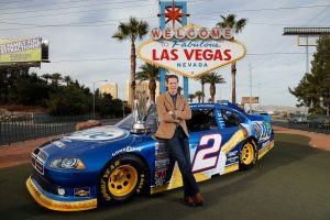 LAS VEGAS, NV – NOVEMBER 27: Brad Keselowski, driver of the #2 Miller Lite Dodge and 2012 NASCAR Sprint Cup Series Champion, poses with the Series Championship Trophy on November 27, 2012 in Las Vegas, Nevada. (Photo by Chris Graythen/Getty Images) | Getty Images